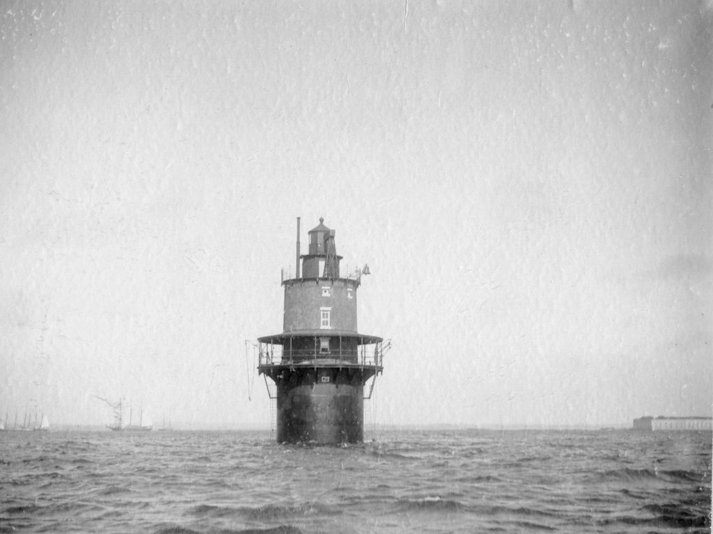 The lighthouse nearing completion in 1897.