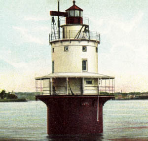 An early postcard of Spring Point Ledge Lighthouse.